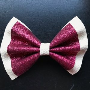 Ivory and Burgundy Faux Leather Glitter Bow